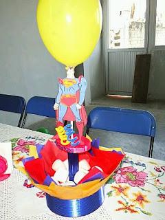 Fiestas Infantiles, Decoracion Superman, Centros de Mesa