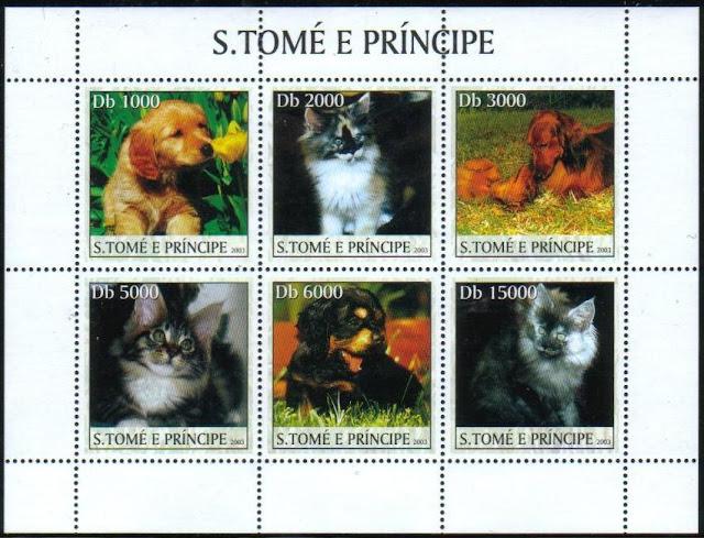 2003年サントメ・プリンシペ民主共和国 ゴールデン・レトリーバーの子犬やダックスフンドの親子とネコの切手シート