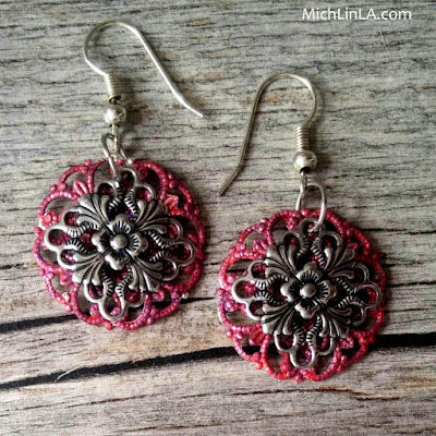 diy colorful painted faux enamel filigree earrings tutorial