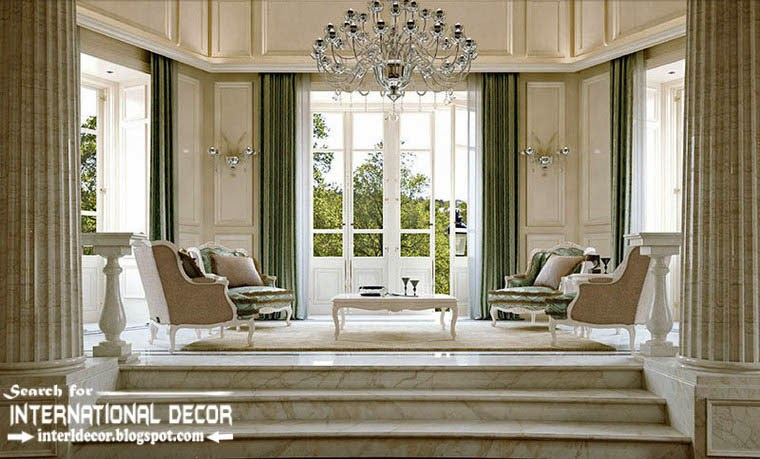 Luxury Classic Living Room Interior Design Decor And Furniture With Access  To Garden