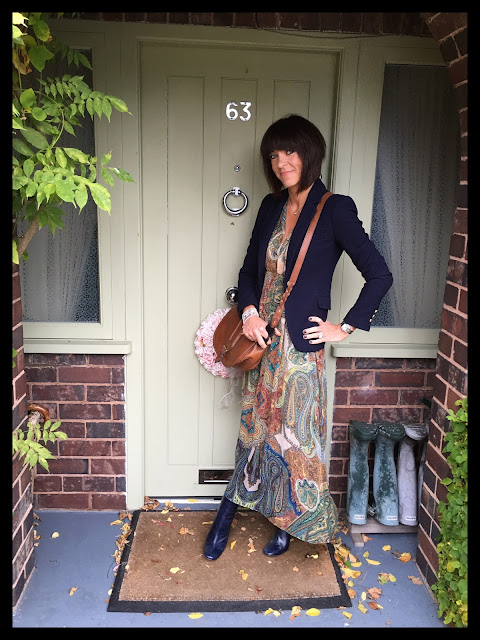 My Midlife Fashion, Clarks Saddle cross body bag, Boho, zara maxi dress, zara leather block heel ankle boots