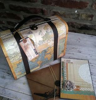Caja valija con tecnica de scrapbooking