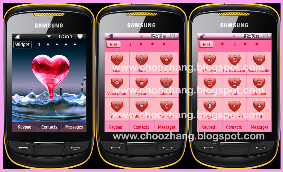 Samsung Corby 2 or S3850 - Hearts Theme + Animated Wallpaper