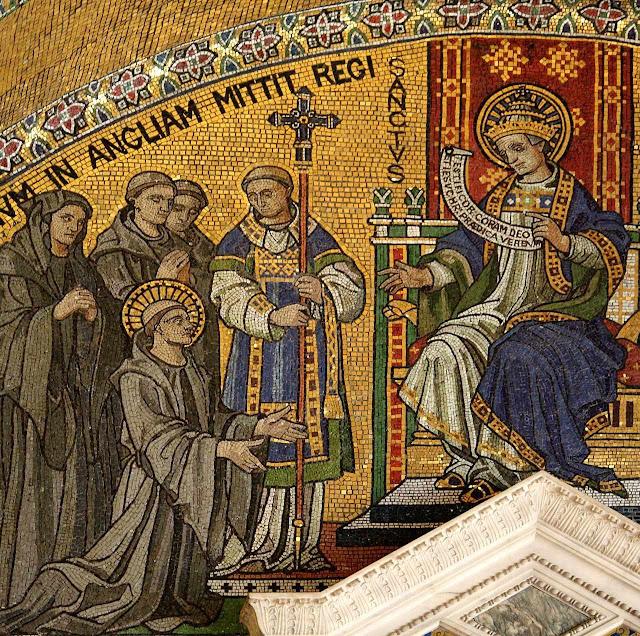 San Gregório Magno envia Santo Agostinho de Cantuária e beneditinos  para evangelizar Inglaterra, catedral de Southwark