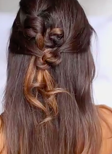 Knotted Half UP and Half Down Hairstyle Tutorial - Full Video tutorial