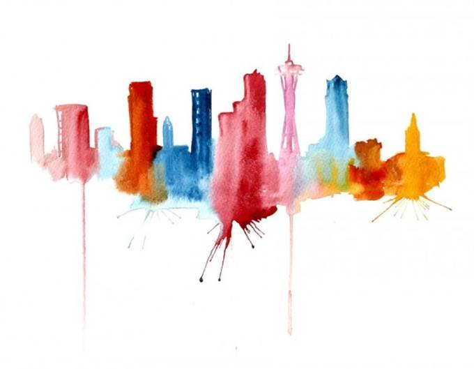 watercolor cityscape seattle