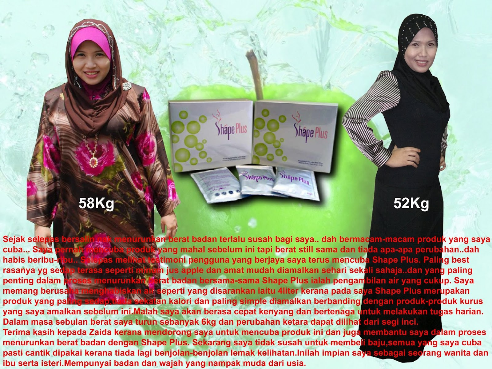 She lost 6kg within a month dengan Shape Plus!