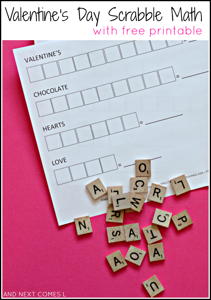Valentine's Day Scrabble math activity for kids with free printable from And Next Comes L