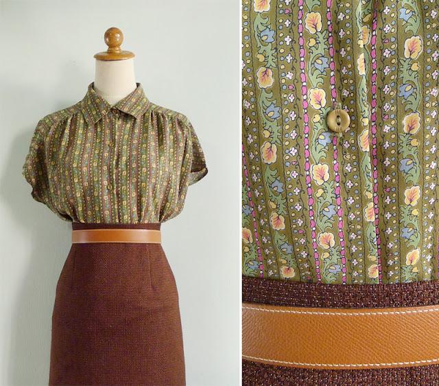 vintage green floral blouse