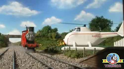 Thomas James the red engine buzz away Sodor Dryaw airfield misty Island rescue Harold the helicopter