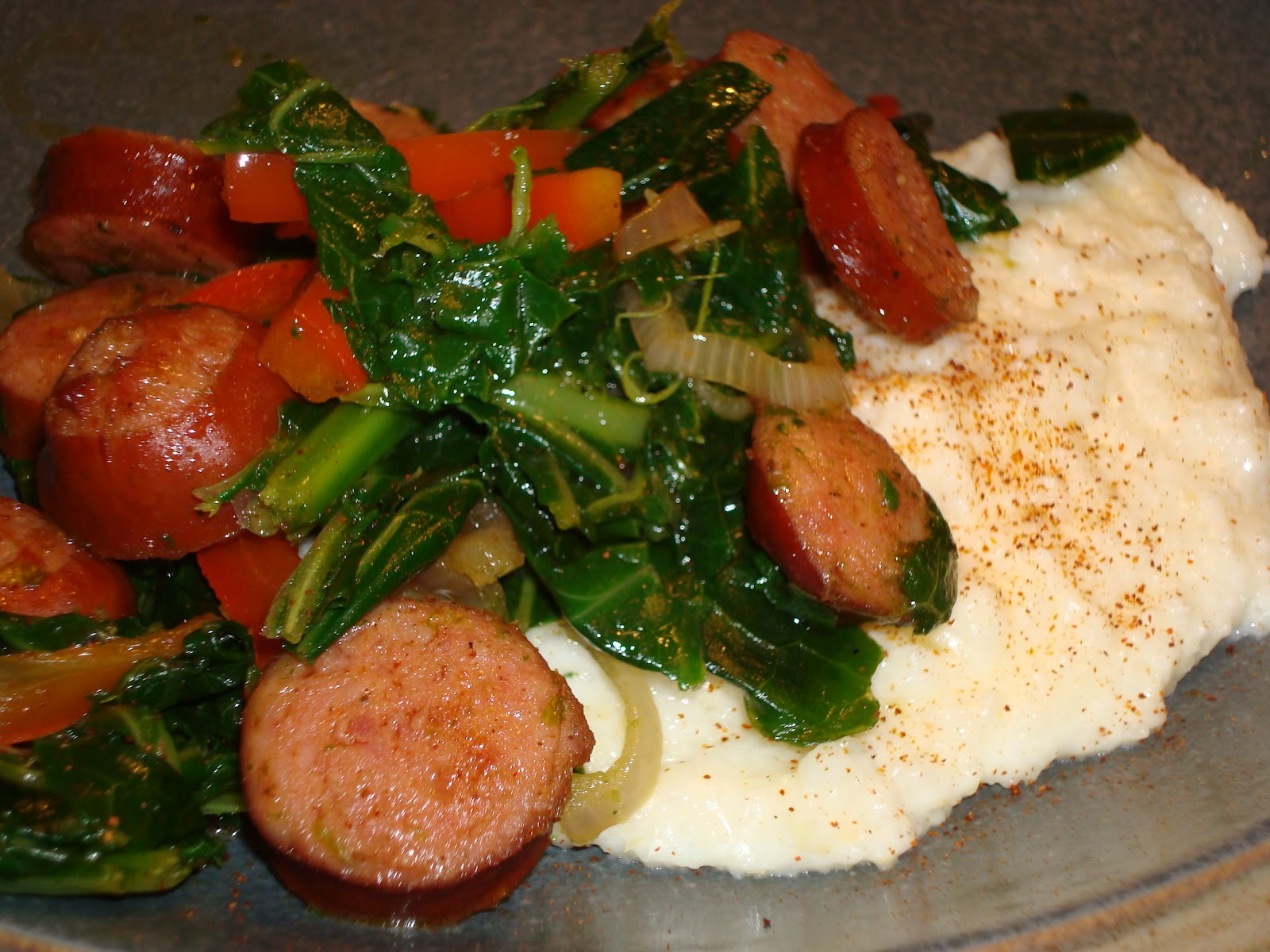 Sauteed Andouille And Greens With Grits Recipe — Dishmaps