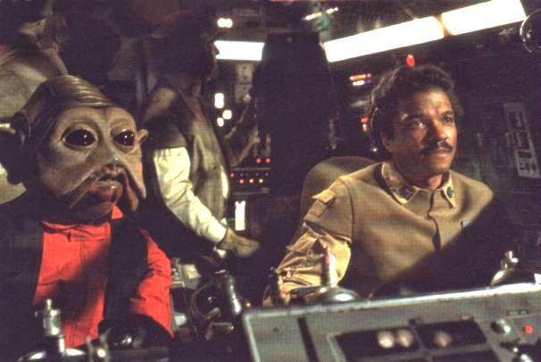 Lando y Nien Numb en el Halcón Milenario