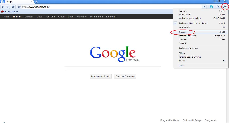cara menghapus history di google