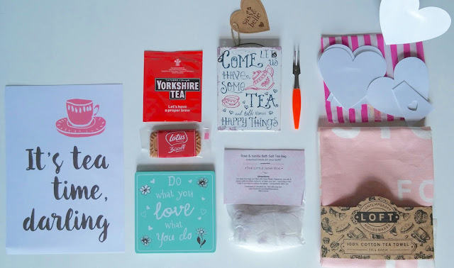 contents of ihearthome.co.uk August Happy Mail box tea themed