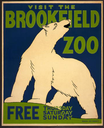 wildlife, animal poster, vintage, vintage posters, graphic design, free download, retro prints, classic posters, Visit the Brookfield Zoo, Free - Vintage Zoo Animal Poster