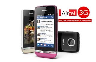 Nokia asha 305, nokia asha 311, free 3g with nokia asha, airtel free 3G data, 500 MB free 3g for 3 months