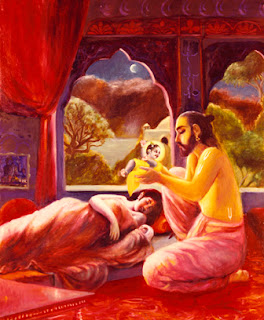 At dead of night, while Kansa and all his guards are asleep, Vasudeva takes the newborn Krishna for Yashoda's newborn daughter. Pahari painting, eighteenth century. Bharata Kala Bhavan, Banaras Hindu University.