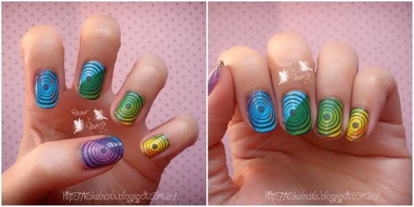 Arco iris foil nail art