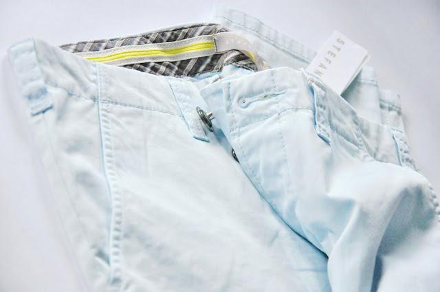голубые хлопковые брюки stefanel