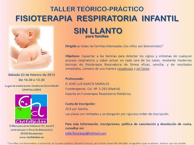 taller fisioterapia respiratoria infantil sin llanto en Chafalladas