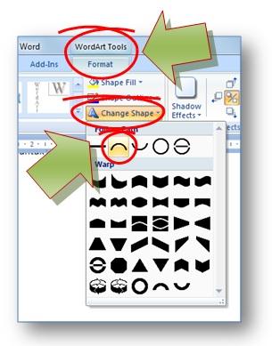 gambar toolbar shape wordart untuk memilih bentuk  lengkung