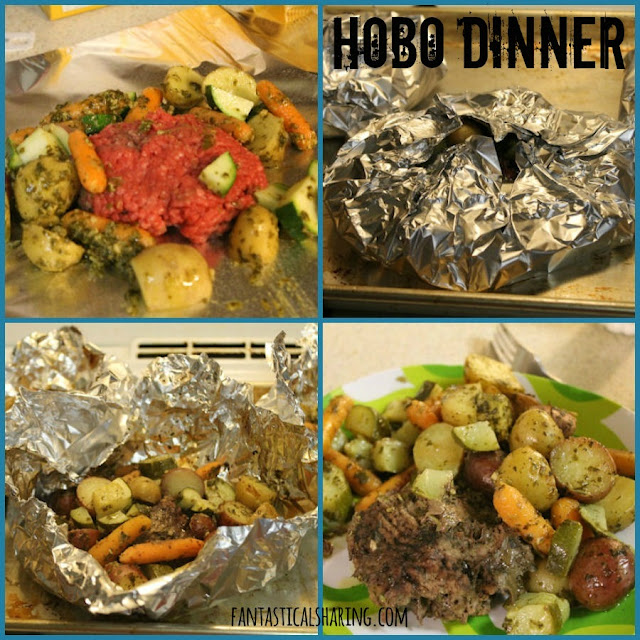Hobo Dinner | Customizable little packets filled with a ground beef patty and veggies | www.fantasticalsharing.com