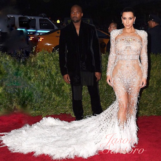 Kim Kardashian is a goddess in white Roberto Cavalli couture gown for Met Gala.