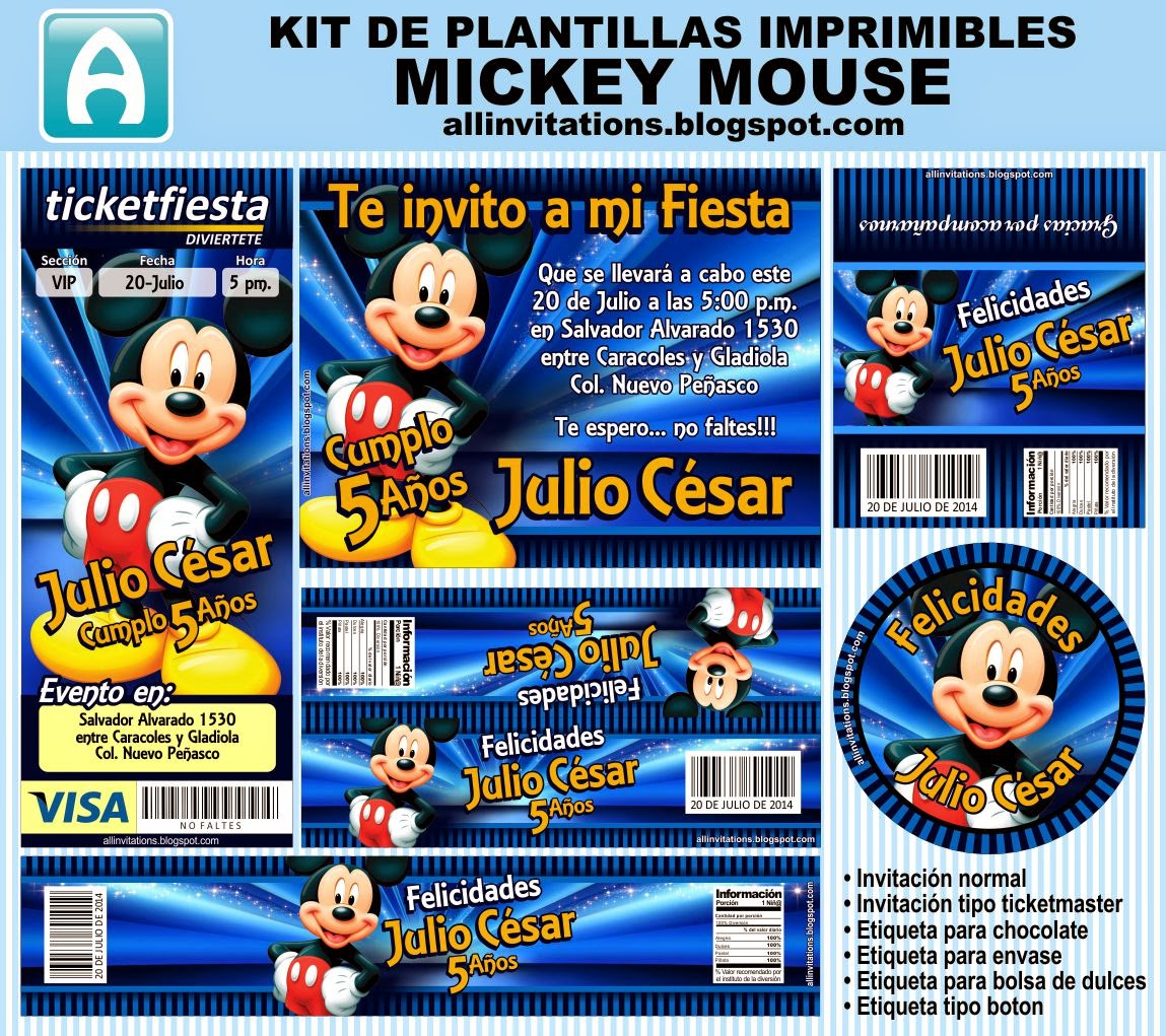 Kit Imprimible Mickey Mouse | All Invitations
