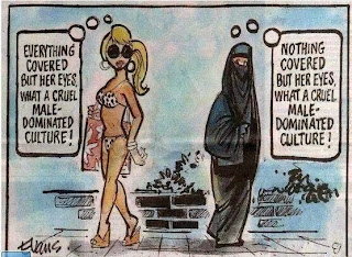 bikini-and-sun-glasses- and burqa-clad women pass each other, thinking 'everything's covered but her eyes/nothing's covered but her eyes: what a cruel male-dominated culture!'