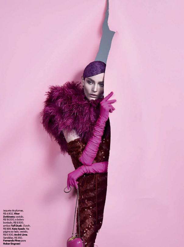 Vivid pink fashion editorial with Zuzanna Bijoch Vogue Brasil February 2014