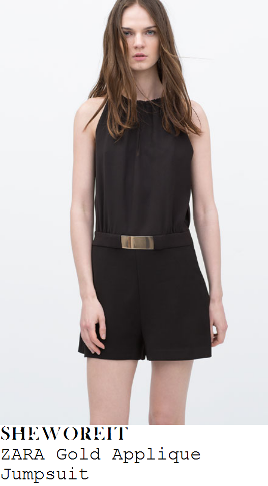 caroline-flack-black-gold-belt-applique-sleeveless-playsuit-x-factor