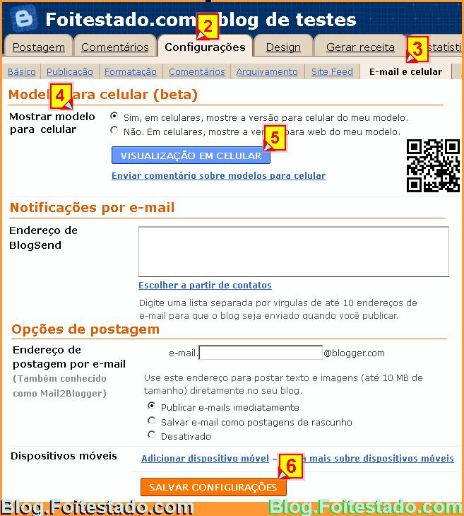 como fazer para ativar opção para mostrar versão do blog para celular e dispositivos moveis
