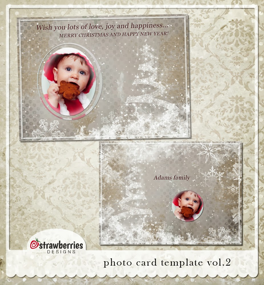 Strawberries designs digital scrapbooking corner new for Digital christmas cards templates