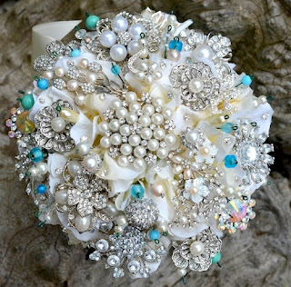 Amanda Jane Heer brooch bouquet, ivory and silver