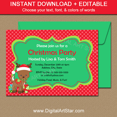 Cute downloadable reindeer holiday invitation template