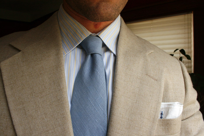 linen jacket and tie