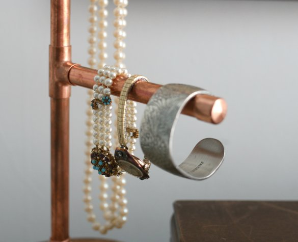Over On EHow DIY Copper Pipe Jewelry Display Holder