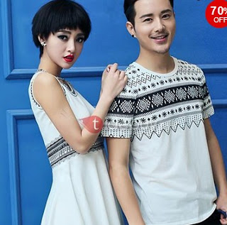 Native-Print Crew-Neck Couple T-shirts