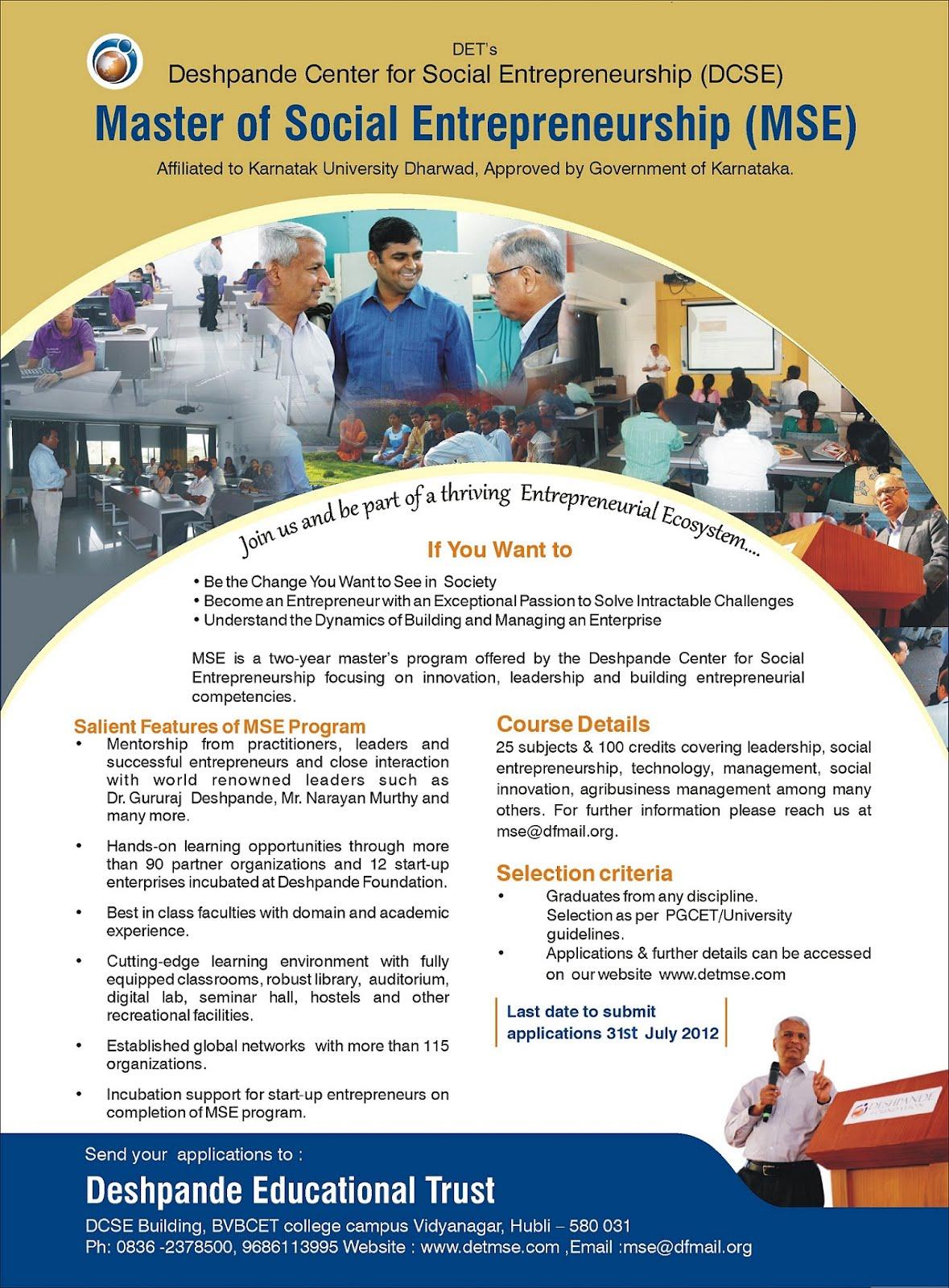 social entrepreneurship in india School for social entrepreneurs india (sse india) supports people who have an idea for a social enterprise or social impact project in india.