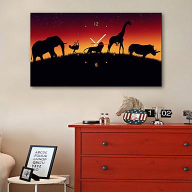 Reloj de Pared Lienzo Animales Africanos