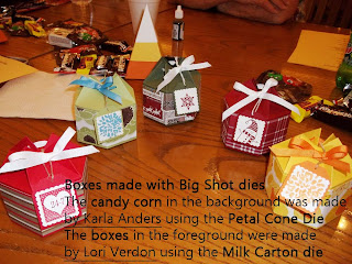 Boxes made with Big Shot Dies: The Petal Cone Die and the Mini Milk Carton Die