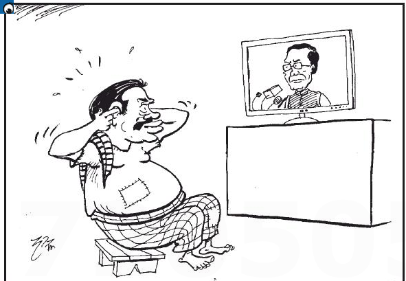 Mahinda had listened to Maithri's speech by plugging his fingers into his years (Friday's cartoon)