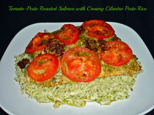 The Weekend Gourmet: Humble House Foods Four-Pack Sauce Giveaway...Featuring Tomato-Pesto Roasted Salmon with Creamy Cilantro Pesto Rice