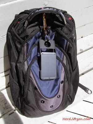 Waka Waka Power slung from my SwissGear backpack