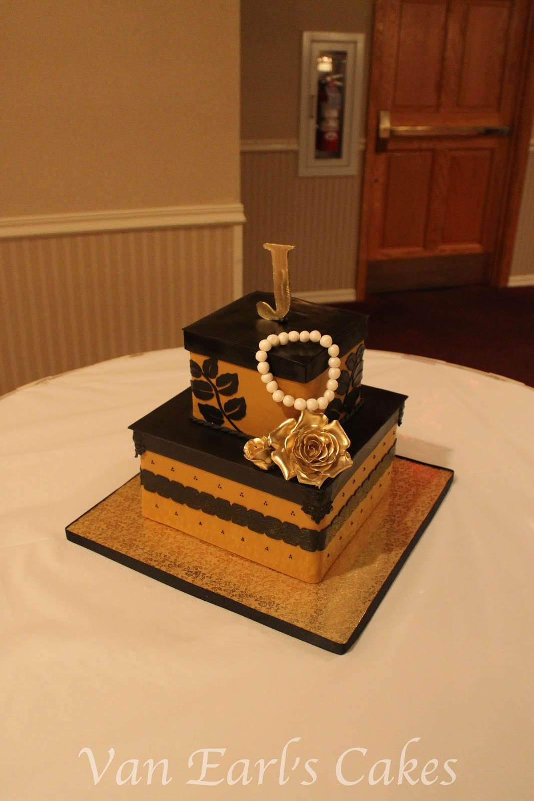 50th Gold And Black Birthday Cake