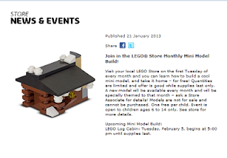 Free LEGO Log Cabin Mini Model Build at LEGO Stores Today (February 5)