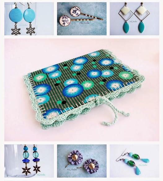Menthe glacée, bleu et vert : boucles d'oreilles, barrettes, petit carnet - chezviolette.etsy.com- bijoux et accessoire fait main