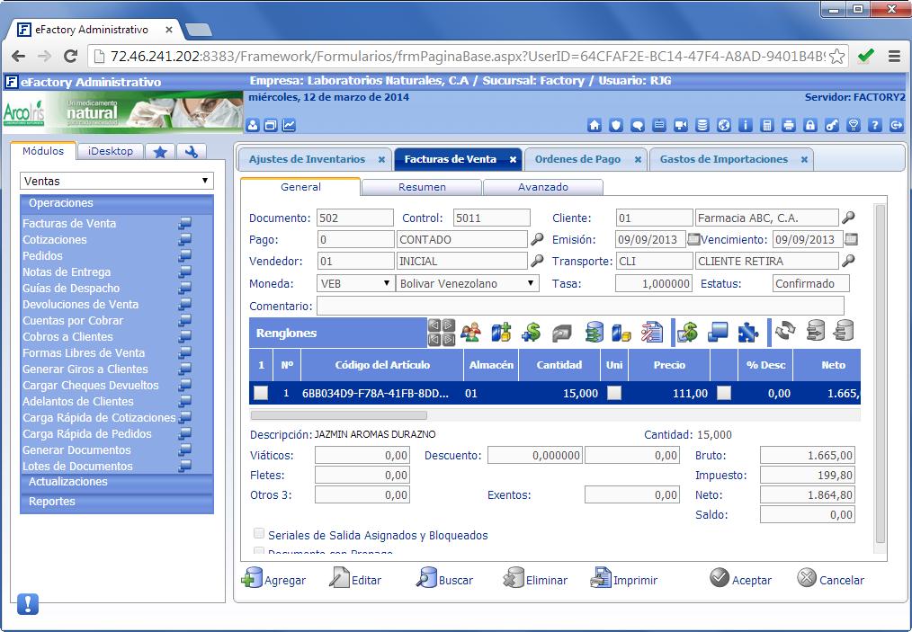 eFactory ERP/CRM - Productos Web de eFactory: ERP/CRM, Nómina, Contabilidad, Punto de Venta, Productos para Móviles y Tabletas