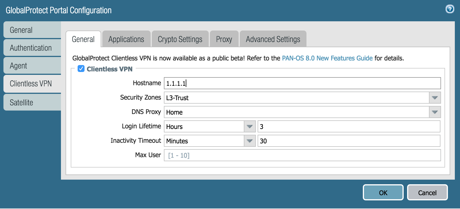 How to configure clientless vpn in palo alto
