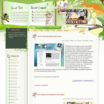 Fairyland of Koala and Kangaroo Blogger Template. free download template blogspot